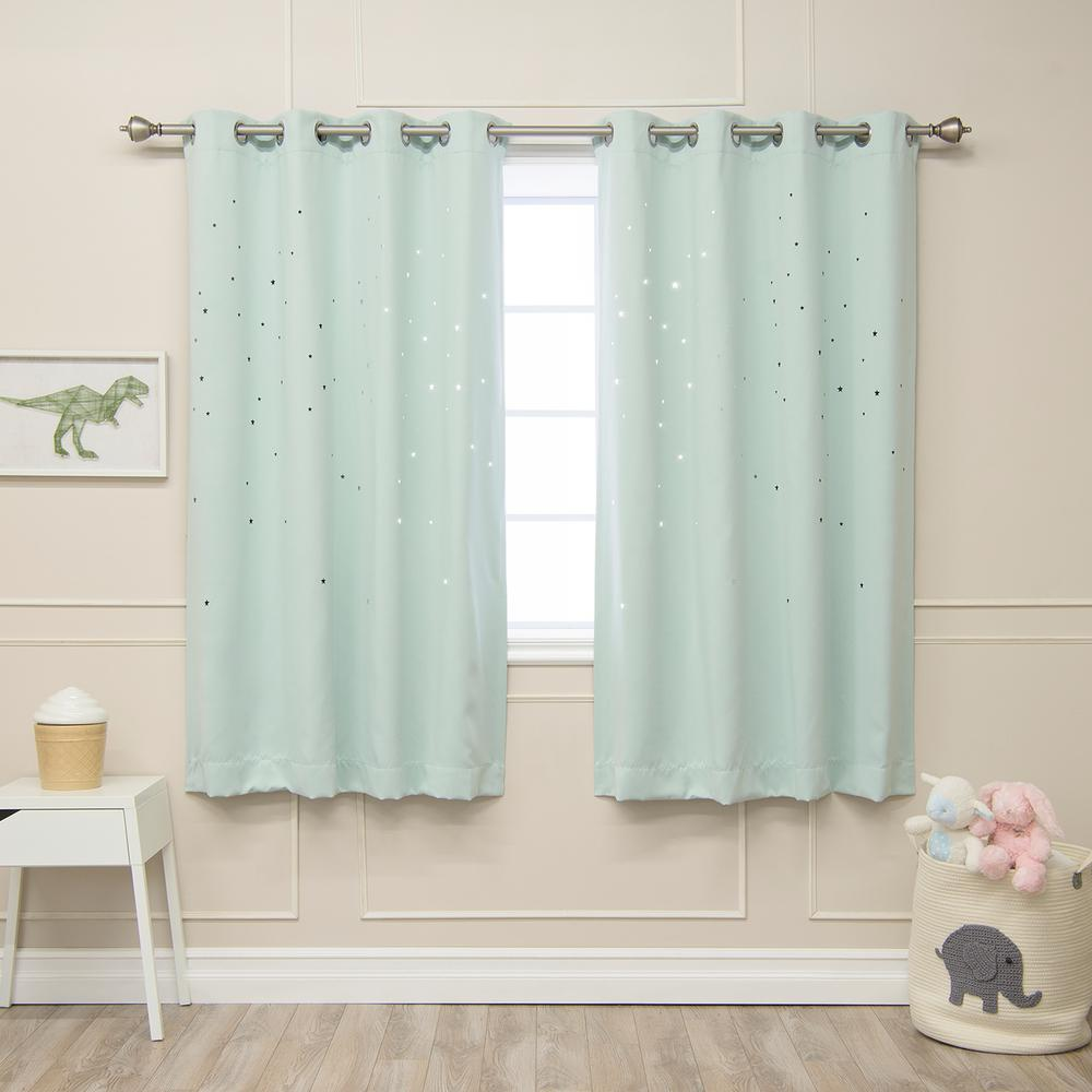 Best Home Fashion 63 in. L Star Cut Out Blackout Curtains in Mint (2-Pack)