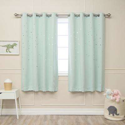 63 in. L Star Cut Out Blackout Curtains in Mint (2-Pack)