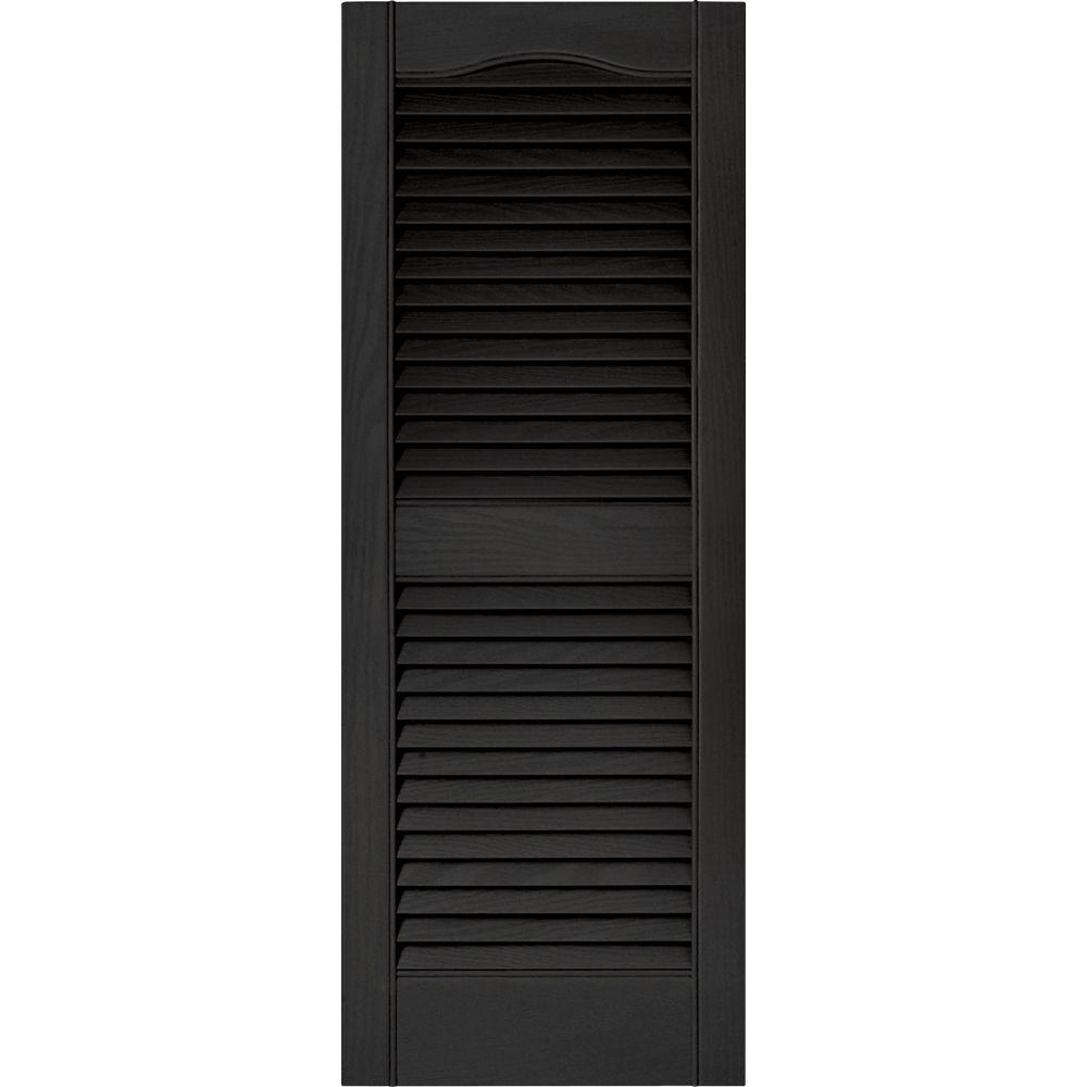 Builders Edge 15 in. x 39 in. Louvered Vinyl Exterior Shutters Pair ...