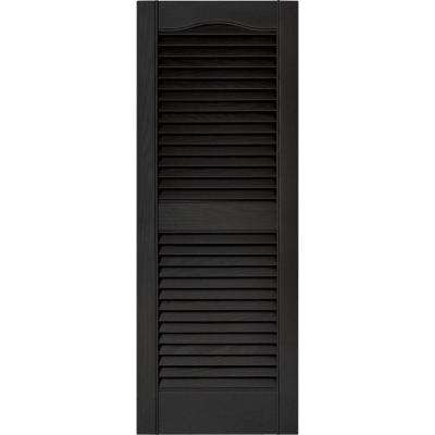 15 in. x 39 in. Louvered Vinyl Exterior Shutters Pair in #002 Black