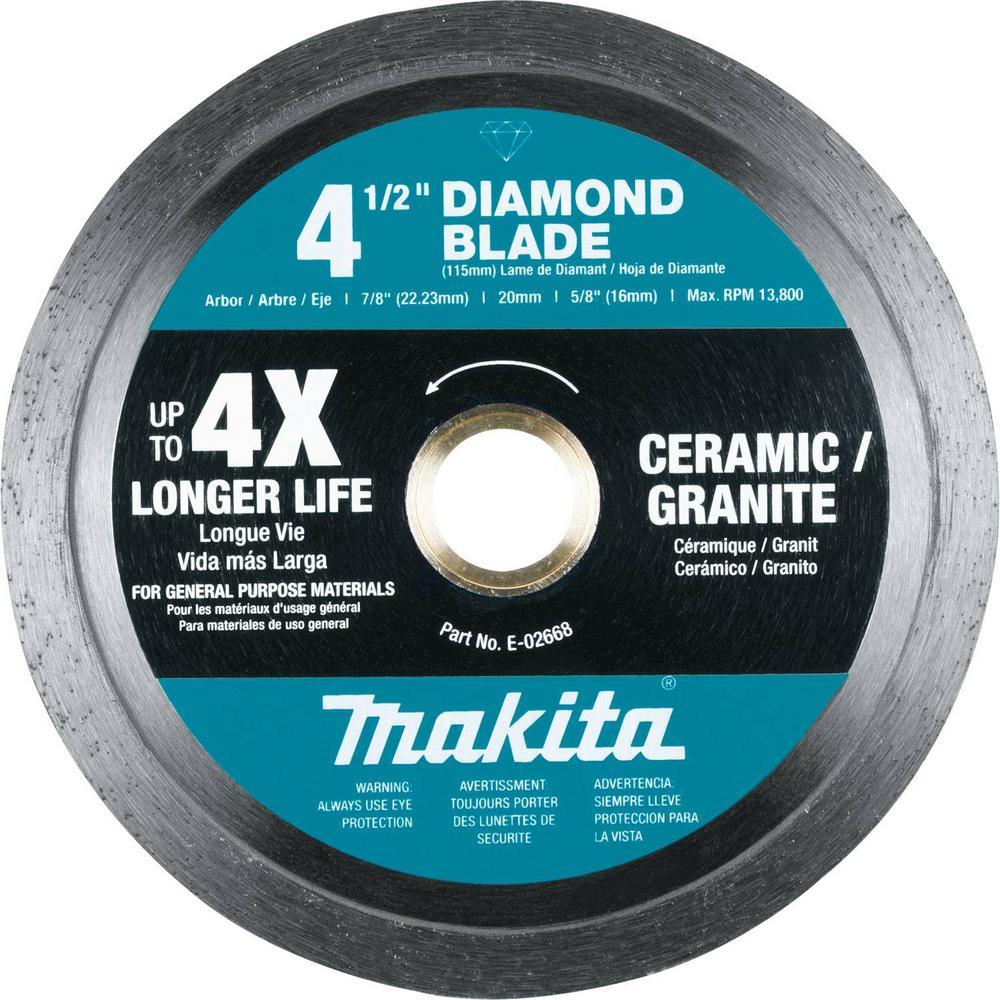 4-1/2 in. Diamond Blade, Continuous Rim, General Purpose