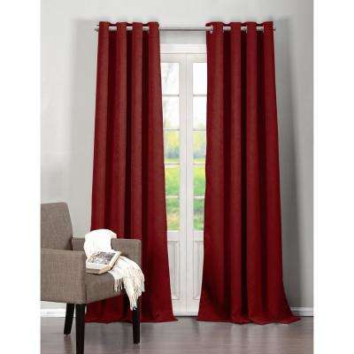 Solid Red Polyester Blackout Grommet Window Curtain 54 in. W x 96 in. L