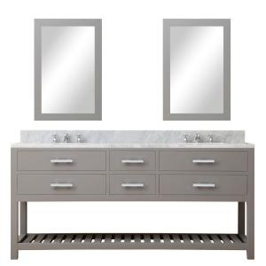 Water Creation 72 inch W x 21.5 inch D Vanity in Cashmere Grey with Marble... by Water Creation