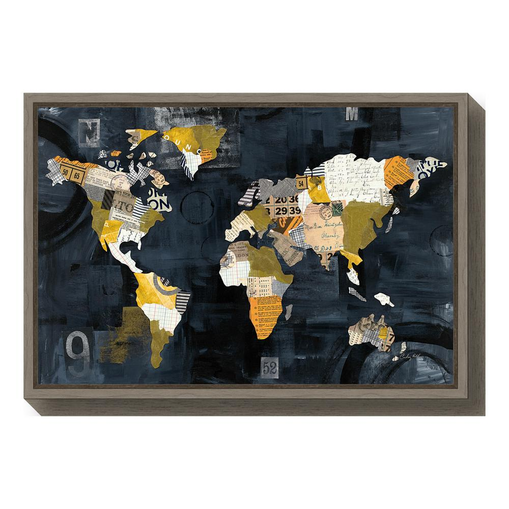 World Map Framed Wall Art.Amanti Art Golden World Map Black By Courtney Prahl Framed