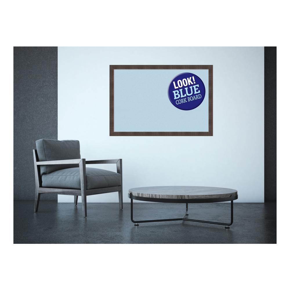 Whiskey Brown Rustic Wood 39 in. x 27 in. Framed Blue Cork Board