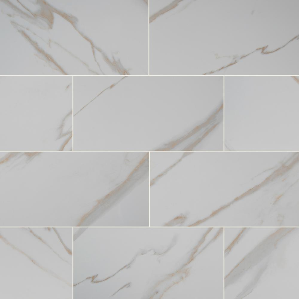 Calacatta Ivory 12 in. x 24 in. Polished Porcelain Floor and Wall Tile (16 sq. ft. / case)