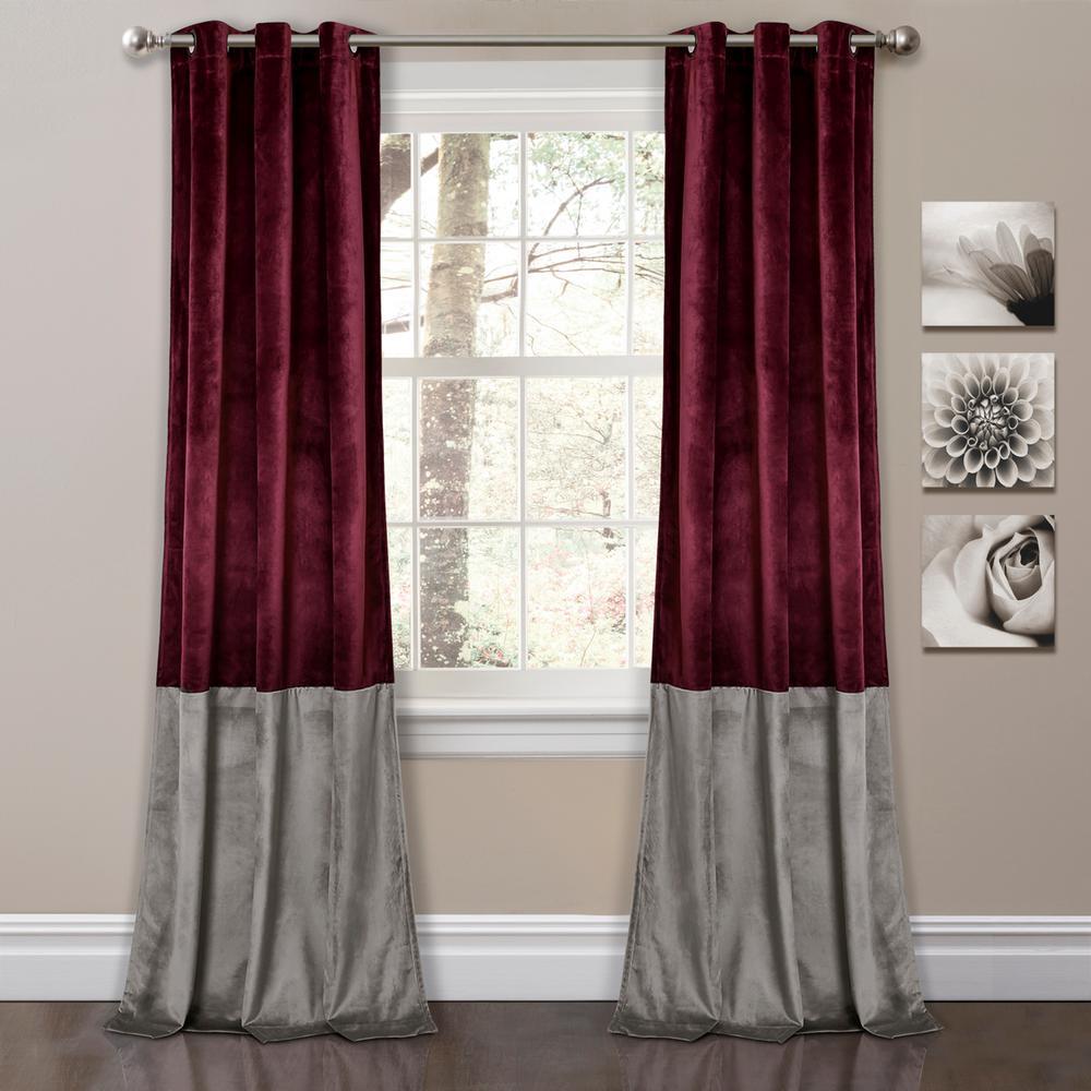 "Prima Velvet Color Block Window Panels Plum 84"" x 38"" 2-Pc Set 100% Polyester"
