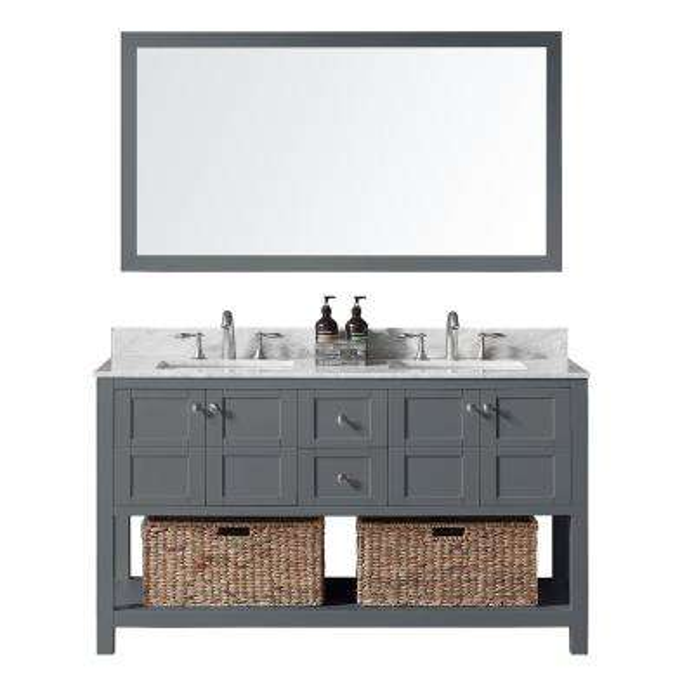 Makena 60 in. W x 22 in. D x 34.2 in. H Bath Vanity in Cashmere Greyw/Marble Vanity Top in Whitew/White Basin & Mirror