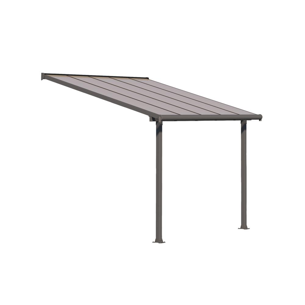 Palram Olympia 10 ft. x 10 ft. Grey/Bronze Patio Cover Awning
