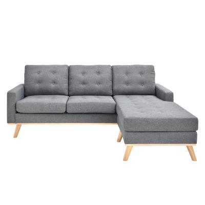 Shelby Collection Grey Mid-Century Modern Polyester Upholstered Stationary Living Room Sectional with Reversible Chaise