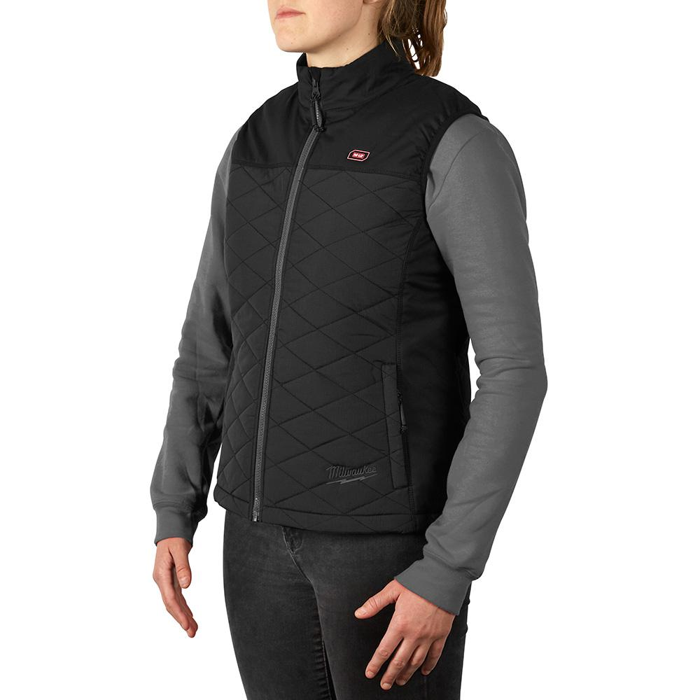 Womens Heated Clothing >> Milwaukee Women S Medium M12 12 Volt Lithium Ion Cordless Axis Black Heated Quilted Vest Kit With 1 1 5ah Battery And Charger