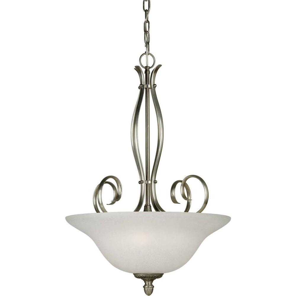Illumine 4 Light Bowl Pendant Brushed Nickel/River Rock Finish White Linen Glass-DISCONTINUED