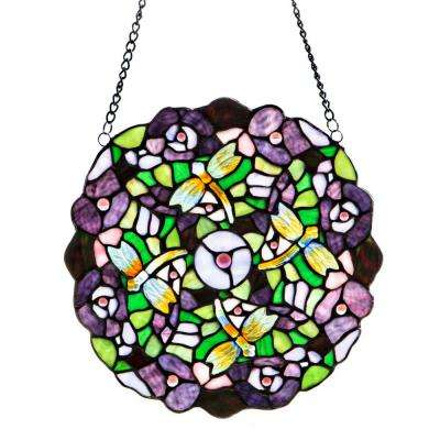 Multi-Colored Stained Glass Purple Pansy Window Panel