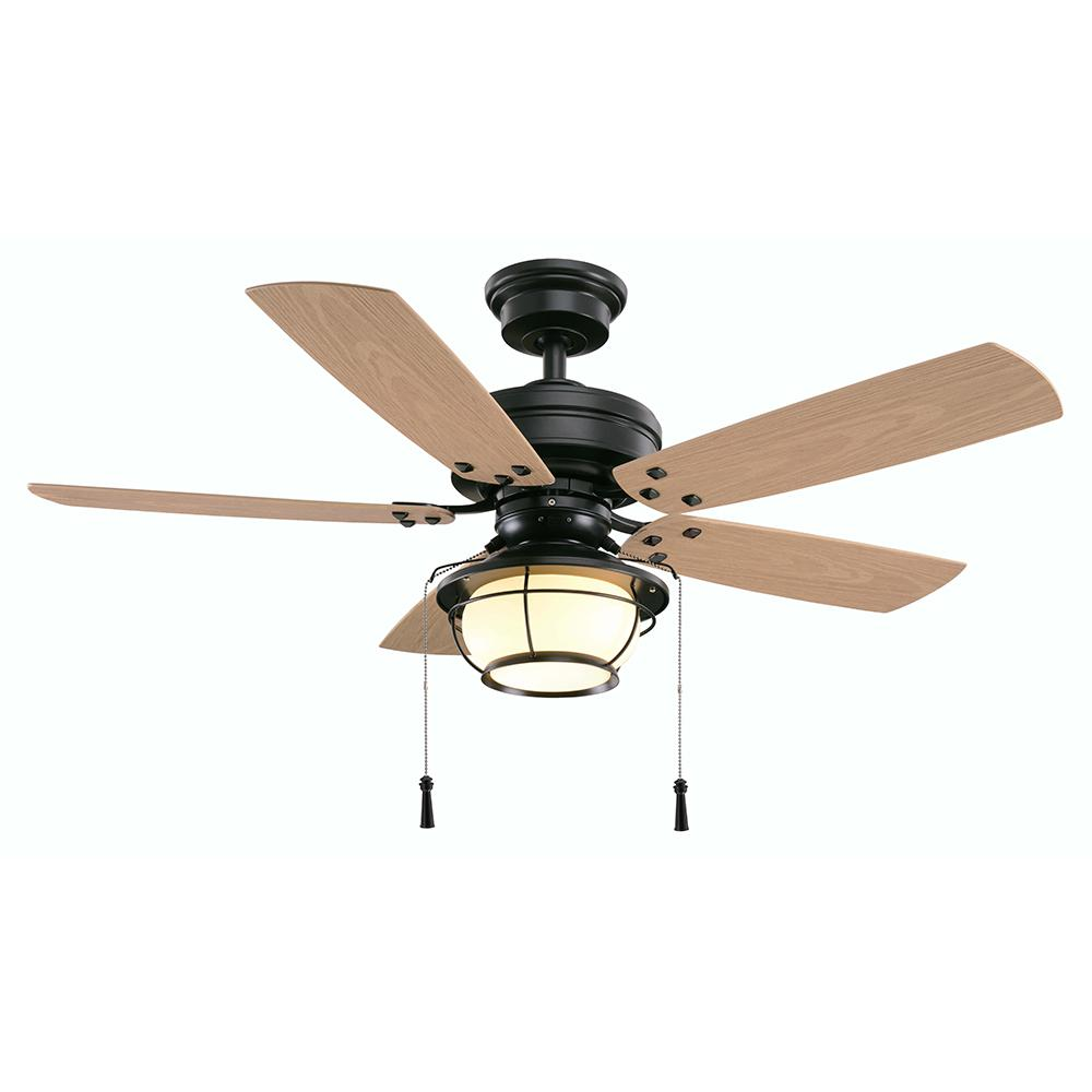 North Shoreline 46 in. LED Indoor/Outdoor Natural Iron Ceiling Fan with