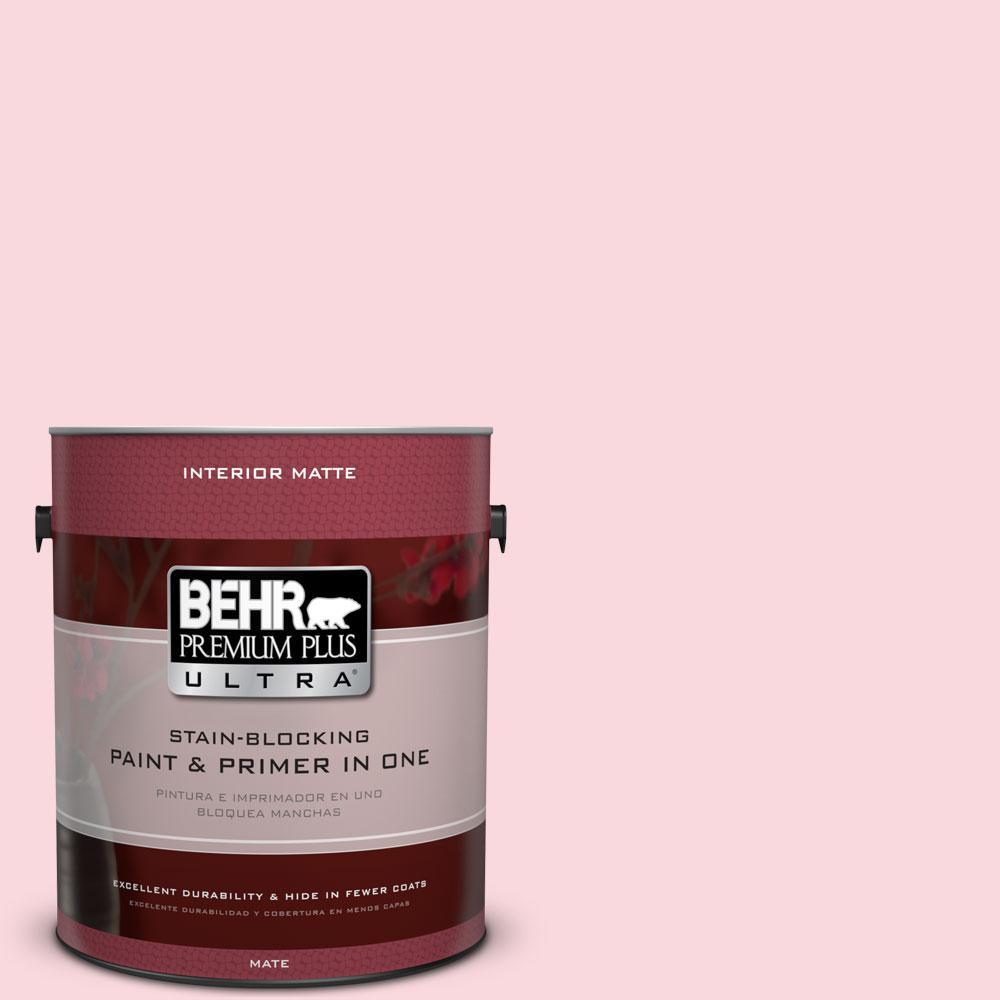 BEHR Premium Plus Ultra 1 gal. #140A-2 Coy Pink Flat/Matte Interior Paint