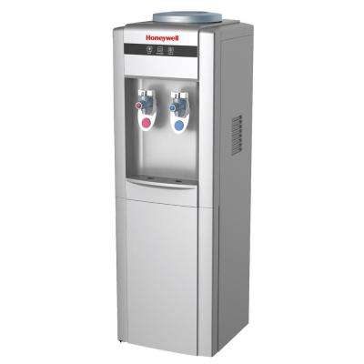 Freestanding Top-Loading Hot/Cold Water Dispenser with with Chemical Free Antibacterial Disc in Silver