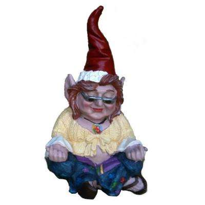 10 in. H 60's Janice Chick Flower Child Hippie ZEN Gnome Home and Garden Gnome Statue