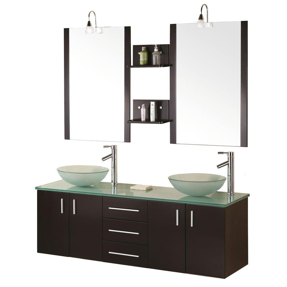 Design Element Modena 61 in. W x 20 in. D Vanity in Espresso with Glass Vanity Top and Mirror in Mint