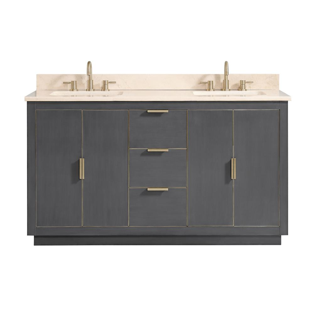 Avanity Austen 61 in. W x 22 in. D Bath Vanity in Gray with Gold Trim with Marble Vanity Top in Crema Marfil with Basins