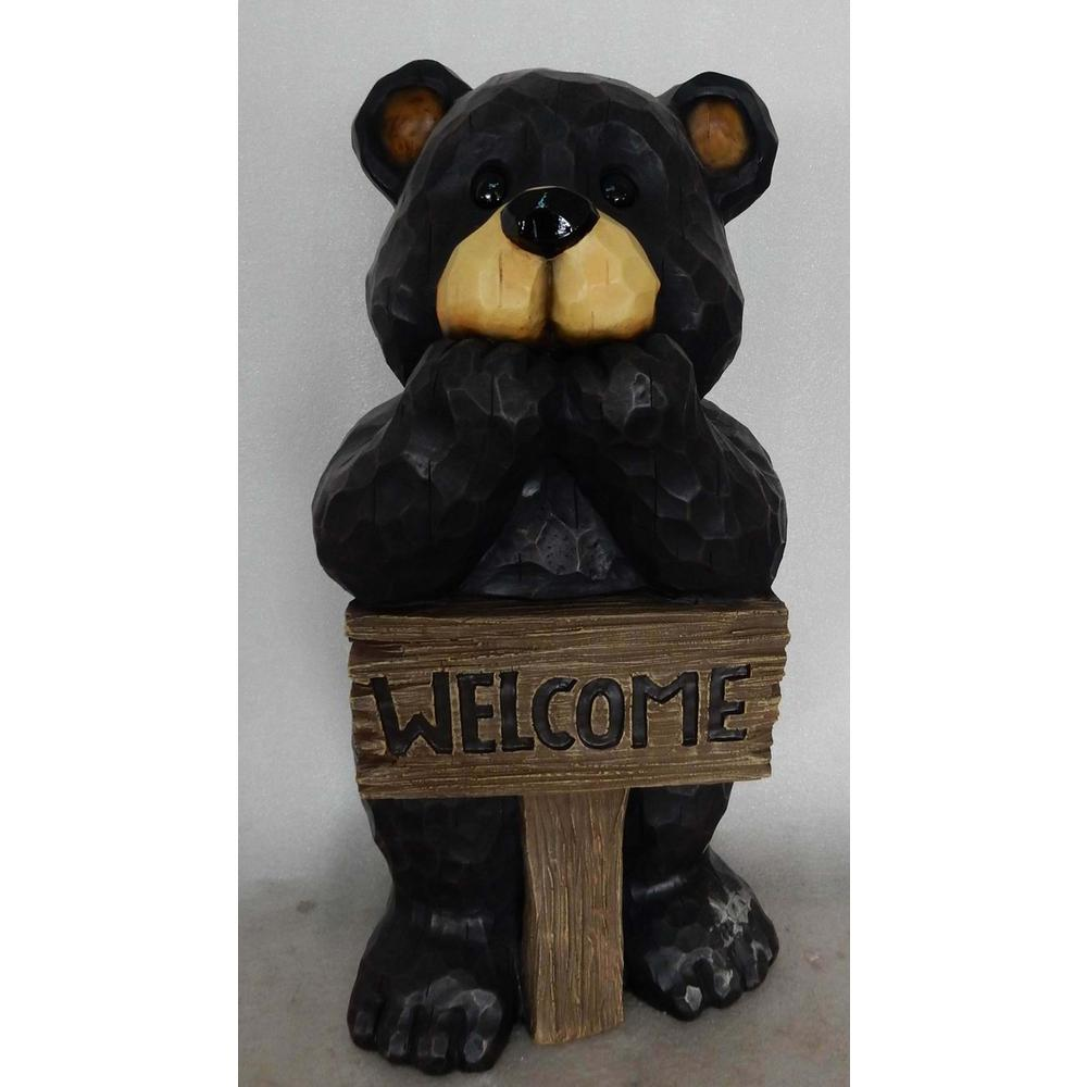 Hi Line Gift Bear Welcome Sign Statue 75619 G The Home Depot