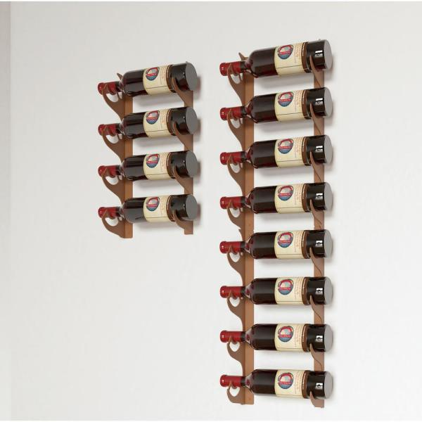 12-Bottle Brown Multi-Section Wall Mounted Wine Rack
