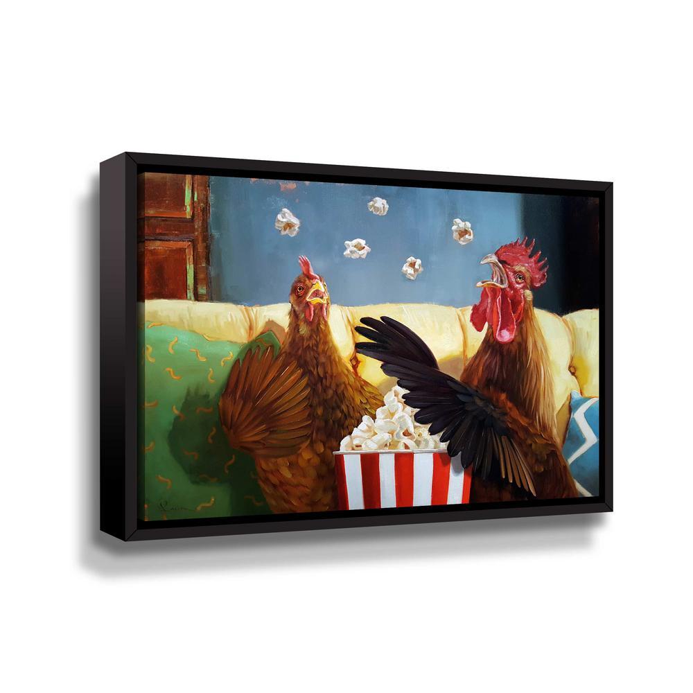 ArtWall Popcorn chickens' by Lucia Heffernan Framed Canvas Wall Art