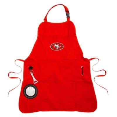 San Francisco 49ers NFL 24 in. x 31 in. Cotton Canvas 5-Pocket Grilling Apron with Bottle Holder