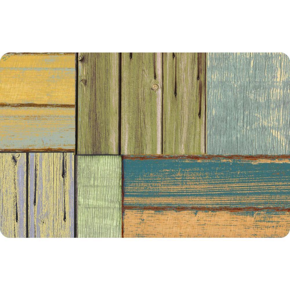 Multi Color 23 in. x 36 in. Neoprene Patchwork Wood Door Mat