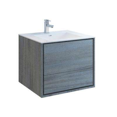 Catania 30 in. Modern Wall Hung Bath Vanity in Ocean Gray with Vanity Top in White with White Basin