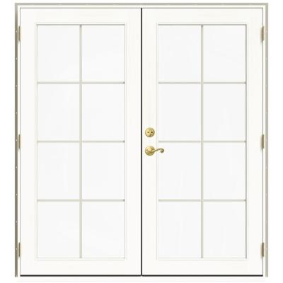 72 in. x 80 in. W-2500 Desert Sand Clad Wood Left-Hand 8 Lite French Patio Door w/White Paint Interior