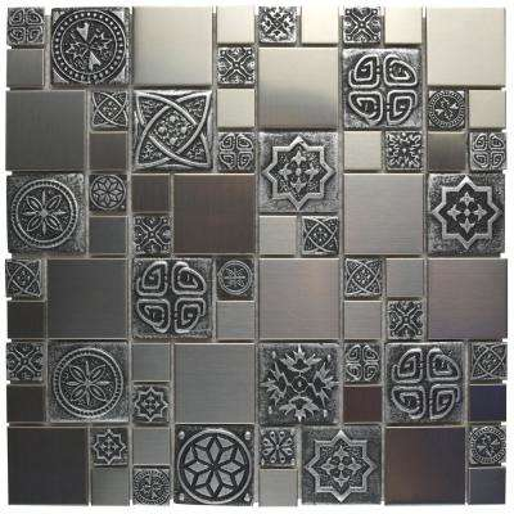Meta Versailles Stainless Steel Metal Over Ceramic Mosaic Tile - 6 in. x 6 in. Tile Sample