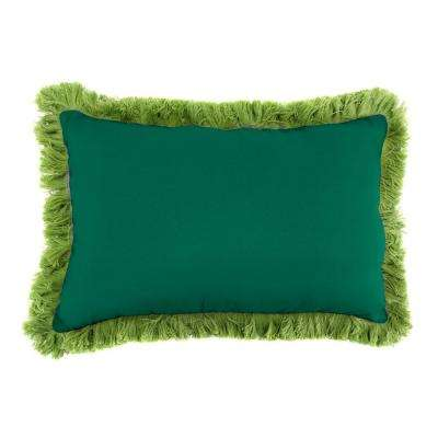 Sunbrella 9 in. x 22 in. Canvas Forest Green Lumbar Outdoor Pillow with Gingko Fringe