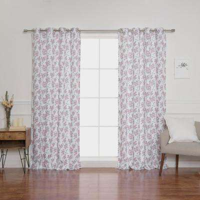 Hibiscus Blossom 52 in. W x 84 in. L Curtains in White (2-Pack)