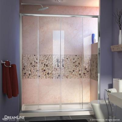 Visions 60 in. W x 30 in. D x 74-3/4 in. H Semi-Frameless Shower Door in Chrome with Biscuit Base Left Drain