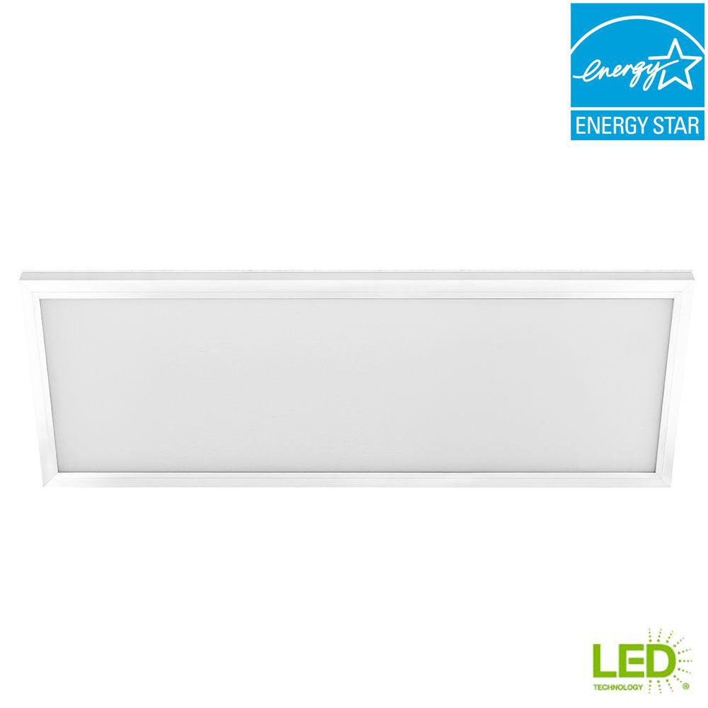 Commercial Electric 1 ft. x 4 ft. 50-Watt White Integrated LED Edge-Lit Flat Panel Flushmount