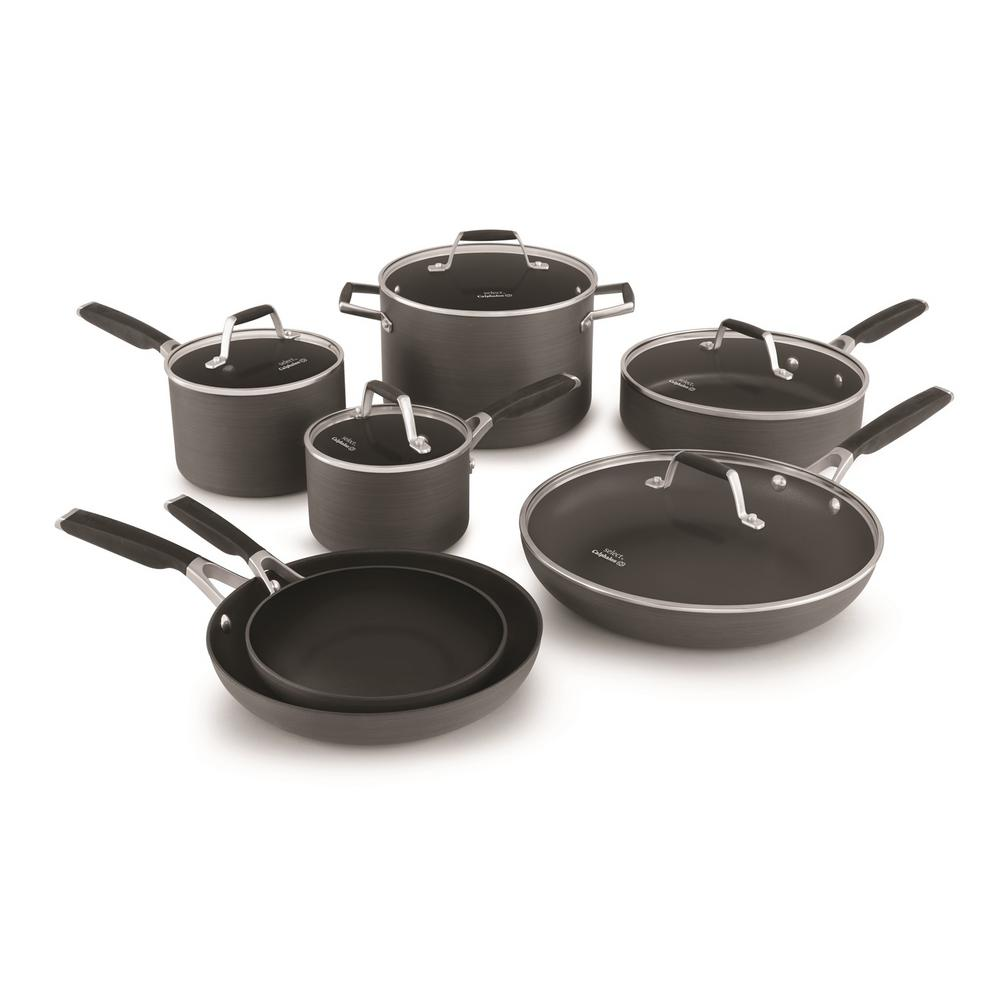 Select 12 Piece Hard Anodized Nonstick Cookware Set, Black