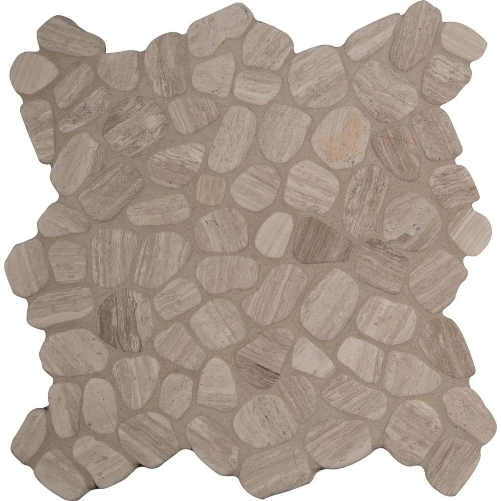 MSI White Oak River Rock 12 in. x 12 in. x 10 mm Tumbled Marble Mesh-Mounted Mosaic Tile (10 sq. ft. / case)