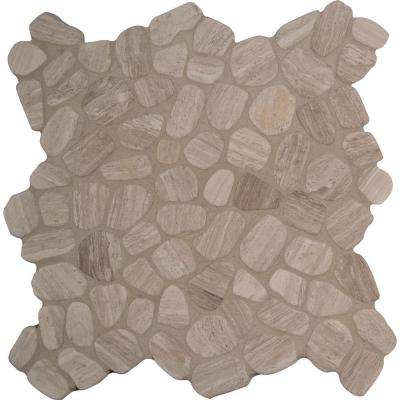 White Oak River Rock 12 in. x 12 in. x 10mm Tumbled Marble Mesh-Mounted Mosaic Tile (10 sq. ft. / case)