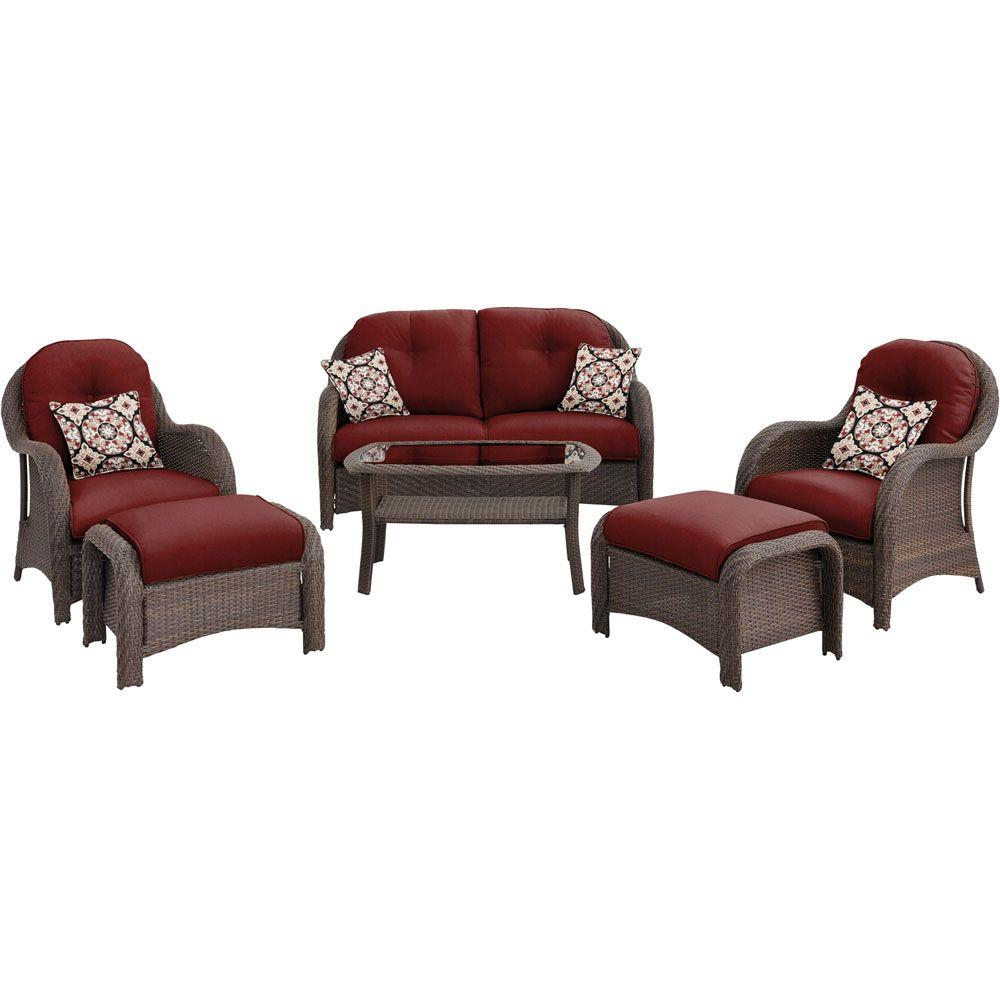 Newport 6 Piece All Weather Wicker Woven Patio Seating Set With Crimson Red Cushions