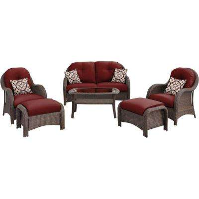 Newport 6-Piece All-Weather Wicker Woven Patio Seating Set with Crimson Red Cushions