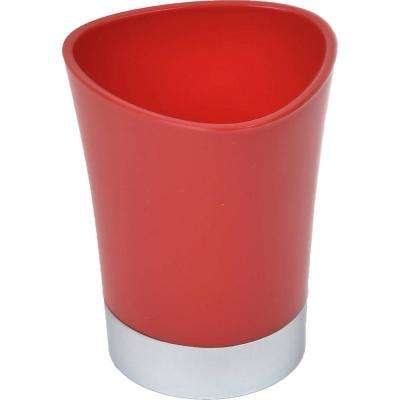 Bath Tumbler Toothbrush Holder in Chrome Base and Red