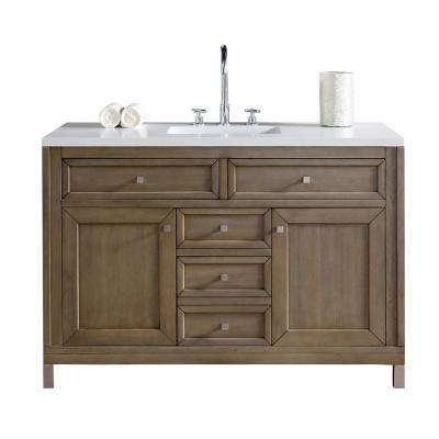 Chicago 48 in. W Single Vanity in Whitewashed Walnut with Quartz Vanity Top in White with White Basin