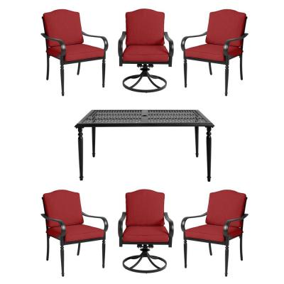 Laurel Oaks 7-Piece Brown Steel Outdoor Patio Dining Set with CushionGuard Chili Red Cushions