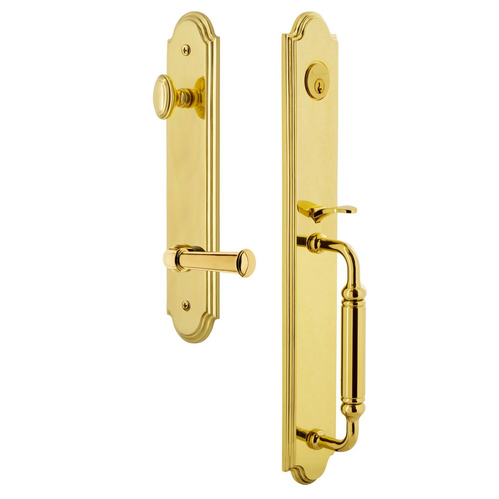 Polished Brass Grandeur Georgetown Rosette with Left Handed Portofino Lever Single Dummy
