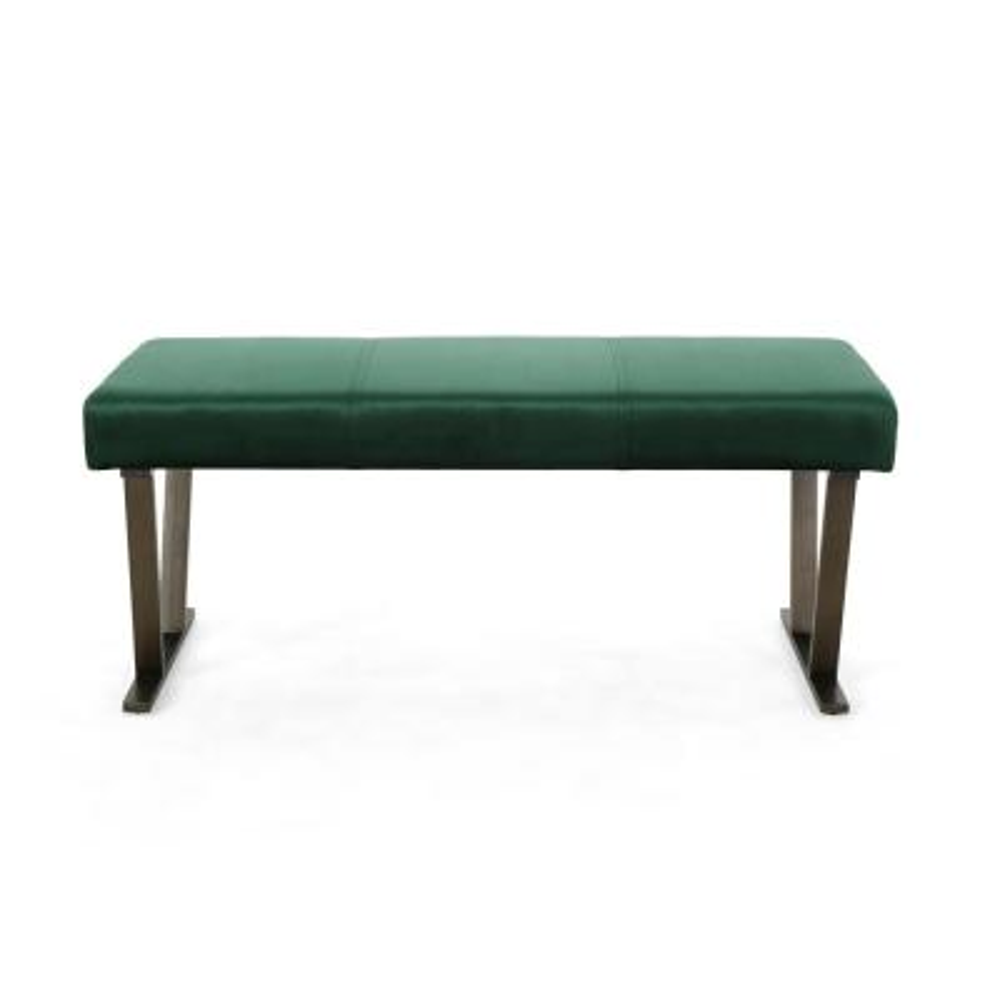 Albano Modern Emerald Velvet Bench with Brushed Brass Stainless Steel Legs