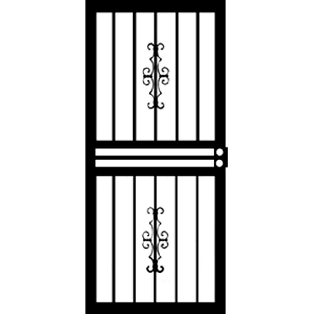 Grisham 36 in. x 80 in. 455 Series Black Hawthorne Security Door