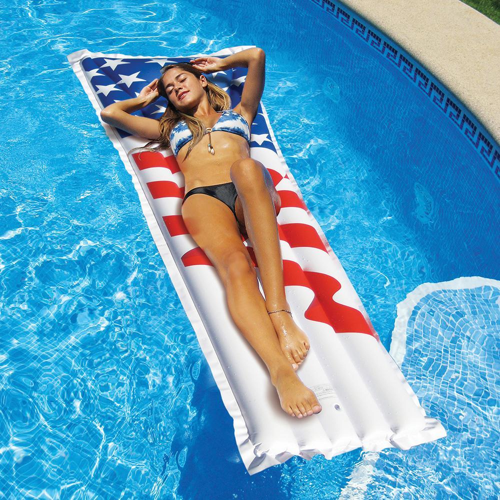 78 in. x 27 in. Stars and Stripes Americana Print Mattress Pool Float