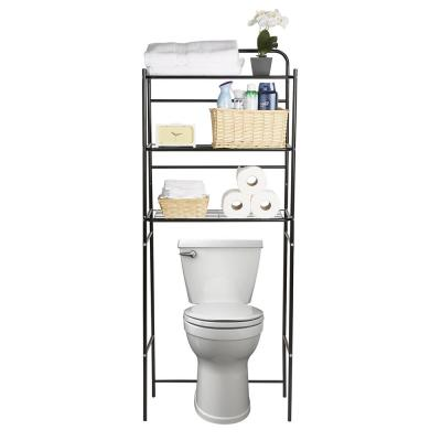 23.5 in. (W) x 60 in. (H) x 9.5 in (D) Over The Toilet Bathroom Space Saver in Metal, Black
