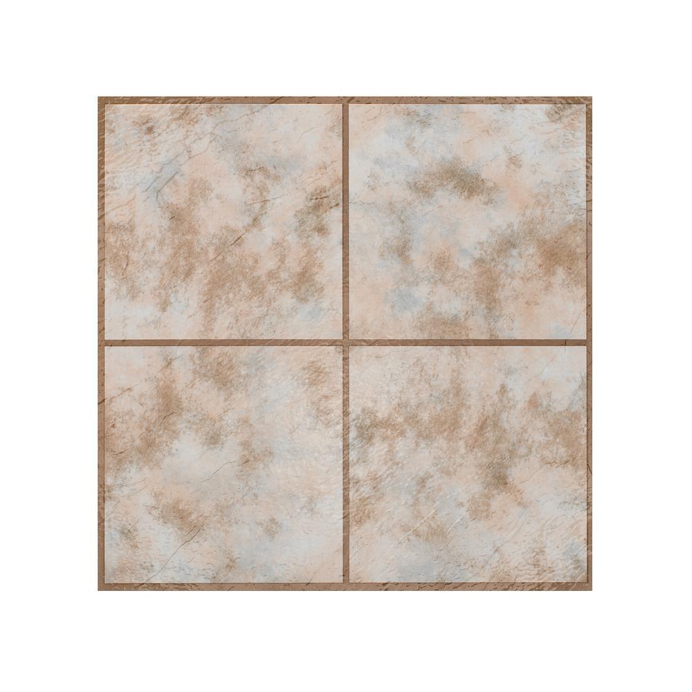 Portfolio Rustic Clay 12 in. x 12 in. Peel and Stick Vinyl Tile Flooring (9 sq. ft./case)