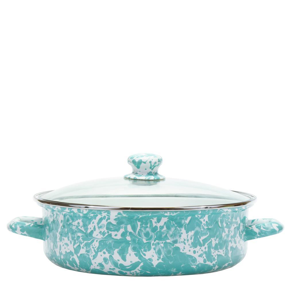 Sea Glass 5 Qt. Enamelware Saute Pan with Lid
